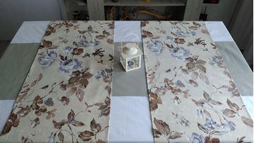 Снимка на Комплект Декоративни ленти за маса  - Сиви цветя - 40/175 - 2бр. 40/135