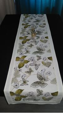 Снимка на Декоративна лента  - Зелени Пеперуди с бял кант
